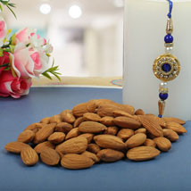 Royal Rajwadi Blue diamond with almond: Send Rakhi to Manchester UK