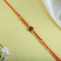 Rudraksh with orange Thread: Send Rakhi to Cambridge