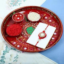 Traditionl Red Diamond Rakhi PujaThali Set: Rakhi to Manchester UK