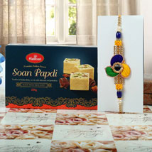Tri colour Rakhi Soan Papdi Hamper: Send Rakhi to Manchester UK