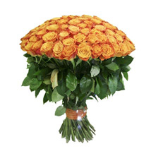 100 Long Stem Orange Roses: Send Roses to USA