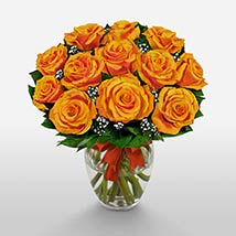 12 Long Stem Orange Roses: Flower Bouquets to USA