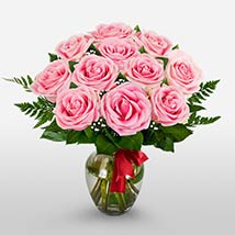 12 Long Stem Pink Roses: Valentines Day Gifts Charlotte