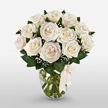 12 Long Stem White Roses: Send Mothers Day Gifts to USA