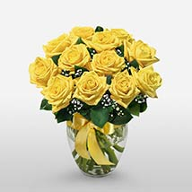 12 Long Stem Yellow Roses: Send Mothers Day Gifts to USA