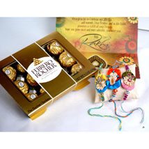 12 PCS Ferrero Rocher with 3 Rakhis: Send Rakhi to Philadelphia