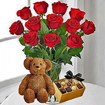 12 Red Roses Chocolates and Bear: Gifts for Anniversary in USA
