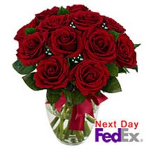 12 stem Red Rose Bouquet: Send Roses to USA