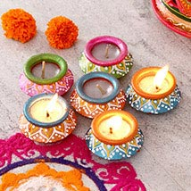 A Dozen Painted Clay Diyas: Diwali Gift Delivery in USA