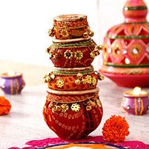 Amazing Lace Work Clay Diyas Set: Diwali Gift Delivery in USA