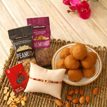 Besan Ka Laddo N Designer Rakhi: Rakhi with Dryfruits to USA