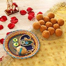 Bhai Dooj Thali with Besan Laddoo: Sweet Delivery in USA