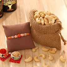 Cashew love with Rakhi: Rakhi with Dryfruits to USA