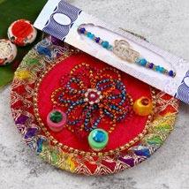 Charming Designer Rakhi With Puja Thali: Rakhi Pooja Thali USA