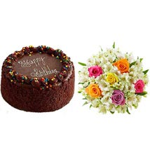 Chocolate Cake with Assorted Rose and Lily Bouquet: Birthday Gifts to Cary