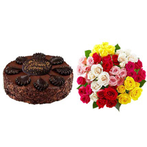 Chocolate Cake with Assorted Roses: Send Roses to USA