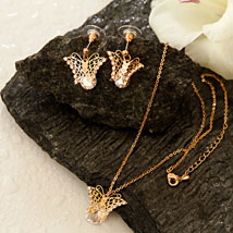 Golden Butterfly Pendant Set: Womens Day Gifts to USA