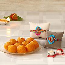 Golden Rakhi Happiness: Rakhi With Sweets USA
