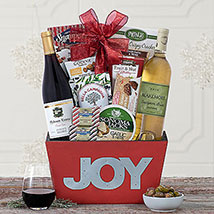 Joy to the World Red and White Gift Basket: Christmas Gift Baskets USA
