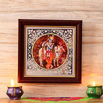 Lord Krishna Wooden Frame: Send Diwali Gifts to USA
