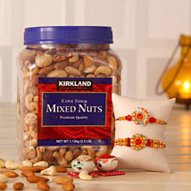 Mixed Nuts N Sparkling Rakhi: Rakhi with Dryfruits to USA