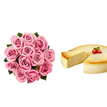 NY Cheescake with Pink Roses: Flowers to Miami