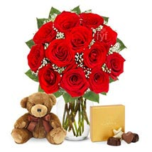 One Dozen Roses with Godiva Chocolates and Bear: Send Roses to USA