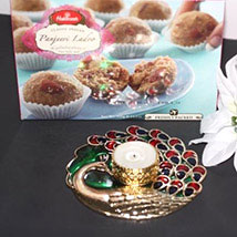 Panjeeri Laddoo N Peacock Candle Holder: Sweet Delivery in USA