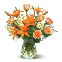Peach Glow: Send Mixed Flowers to USA