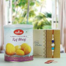 Pearl Rakhi with Rajbhog: Rakhi With Sweets USA