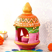 Pink Clay Diya With Stand: Send Diwali Gifts to USA