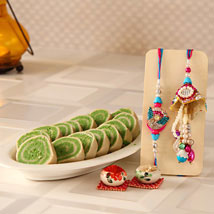 Pista Cassata With Lumba Rakhi Set: Rakhi for Bhaiya Bhabhi to USA