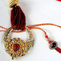 Premium Kundan Work bhaiya Bhabhi Set: Rakhi for Bhaiya Bhabhi to USA