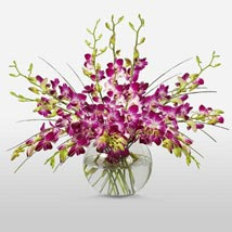 Purple Orchids in Vase: Send Wedding Gifts to USA