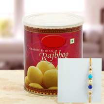 Rajbhog with Multy Color Pearl Rakhi: Rakhi to Irvine