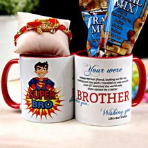 Rakhi with Mug and Kirkland Trail Mix: Rakhi with Dryfruits to USA