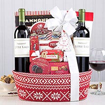 Red Wine Christmas Duet Gift Basket: Birthday Gifts to USA