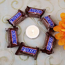 Snickers Bars with Elegant Diya: Bhai Dooj Gift Delivery in USA