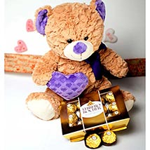 Teddy With The Treat: Send Valentine Day Gifts to Madison