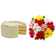 Vanilla Cake with Assorted Roses: Send Roses to USA