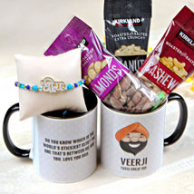 Veera Rakhi with Mug and Nuts: Rakhi to Irvine