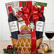 Vintners Path Red Wine Holiday Basket: Gifts for Birthday