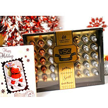 VSC 40 Liquor Filled Chocolates N Christmas Card: Chocolate Delivery in USA