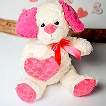 White n Pink Puppy Soft Toy: Send Valentine Day Gifts to Fremont