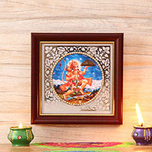 Wooden Frame of Lord Hanuman: Diwali Gift Delivery in USA
